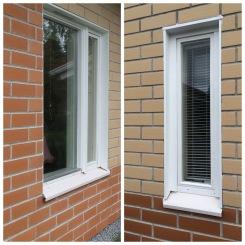 Rivitaloyhtiön ikkunapuitteiden maalauksen yhteydessä uusittiin myös huonokuntoisimpia listoja.
