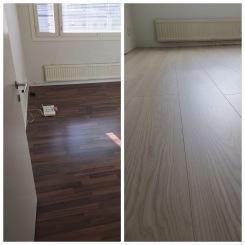 Tumma lattia vaihtui kerrostalohuoneistossa vaaleaan lankkulaminaattiin. Samalla käännettiin myös laminaatin asennussuunta valon suuntaiseksi.